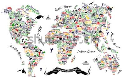 Sticker Typografie-Weltkarte. Reiseplakat mit Städten und Sehenswürdigkeiten. Inspirierende Vektor-Illustration.