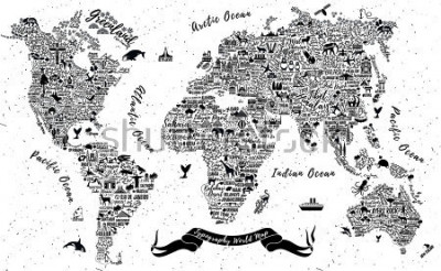 Sticker Typography World Map. Travel  Poster with cities and sightseeing attractions. Inspirational Vector Illustration.