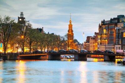 Sticker Überblick über Amsterdam mit Munttoren