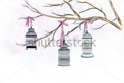 Sticker Übergeben Sie gezogene Vogelkäfige des Aquarells drei auf den Niederlassungen eines Baums mit rosa Bändern.