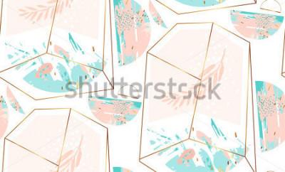 Sticker Übergeben Sie gezogenes künstlerisches geometrisches nahtloses Muster der Vektorzusammenfassung mit Kristallterrarium und -brunch in den blauen Farben des Goldes, des Pastells und des tiffany, die auf