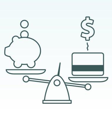 Übermäßige Schulden vs Einsparungen
