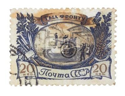 UdSSR - CIRCA 1945: Briefmarke zeigt den Tank in Werkstor