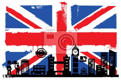 UK Flagge und Silhouetten