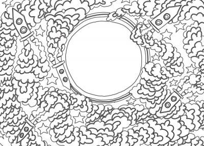 Sticker Um den Mond (Vektor-Illustration)