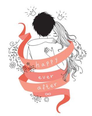 """Umarmung junges Paar eingewickelt von rotem Band mit Worten """"Happy ever after"""". Vektor Hand gezeichnet Illustration für Valentinstag Grußkarte oder Hochzeit Einladung"""