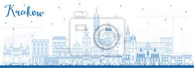 Umreißen Sie Stadt-Skyline Krakaus Polen mit blauen Gebäuden.