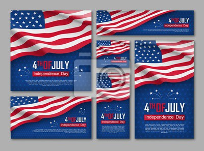 Sticker Unabhängigkeitstagfeier-Fahnen eingestellt. 4. von Juli-Glückwunschkarten mit wellenartig bewegender amerikanischer Staatsflagge auf blauem Hintergrund. Bundes patriotischer Feiertag USA-Landes. Vekto