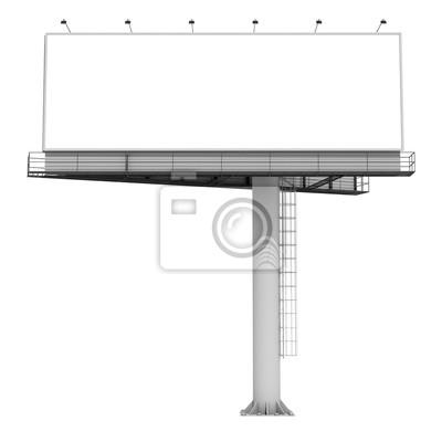 Unbelegte Anschlagtafel 02 der Wiedergabe 3d auf weißem Hintergrund. 3D Modellierung