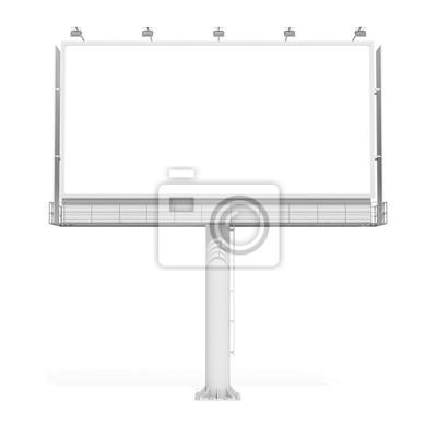 Unbelegte Anschlagtafel 04 der Wiedergabe 3d auf weißem Hintergrund. 3D Modellierung