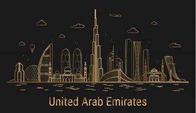 United Arab Emirates city line art, golden architecture vector illustration, skyline city, all famous buildings.