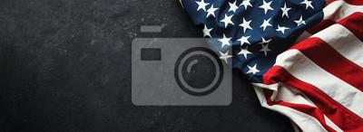 Sticker United States Flag On Black Background