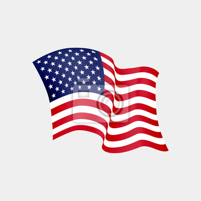 Sticker United States of America waving flag. Vector illustration. US waving flag