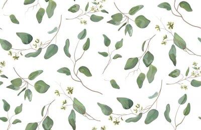 Sticker Unterschiedlicher Baum des Eukalyptus, natürliche Niederlassungen des Laubs mit grünen Blättern sät tropisches nahtloses Muster, Aquarellart. Vector dekorative schöne nette elegante Illustration lokal