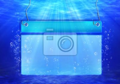Unterwasser-Szene mit Banner für Text mit Blasen