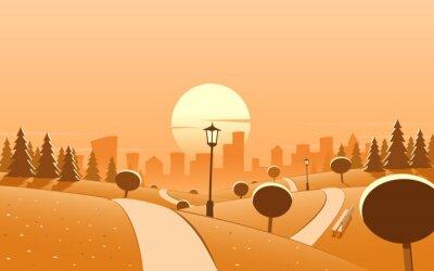 Urban Park Sonnenuntergang Landschaft