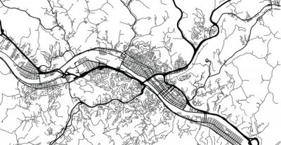 Urban vector city map of Charleston, USA. West Virginia state capital