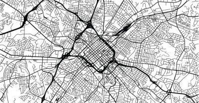 Urban vector city map of Charlotte, North Carolina, United States of America