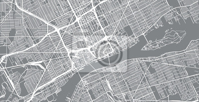 Urban vector city map of Detroit, Michigan, United States of America