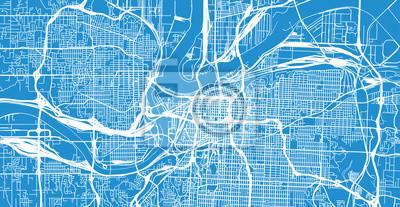 Urban vector city map of Kansas City, Missouri, United States of America