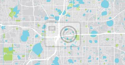 Urban vector city map of Orlando, Florida, United States of America