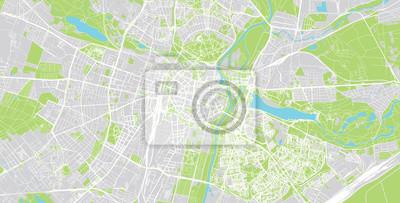 Urban vector city map of Poznan, Poland