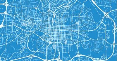 Urban vector city map of Raleigh, USA. North Carolina state capital