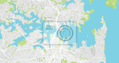 Urban vector city map of Sydney, Australia