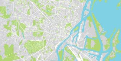 Urban vector city map of Szczecin, Poland