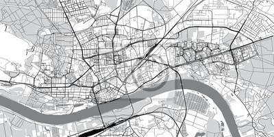 Urban vector city map of Torun, Poland