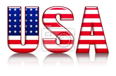 USA, American Flag, emossed Wort mit Flagge und Reflexion