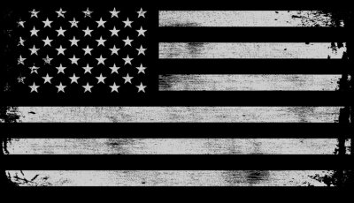 Sticker USA American grunge flag set, white isolated on black background, vector illustration.