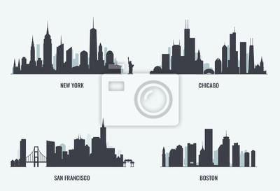 USA cities skylines set.