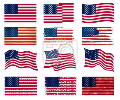 Sticker USA flag vector american national symbol of united states with stars stripes illustration freedom independence set of flagged patriotic emblem isolated on white background