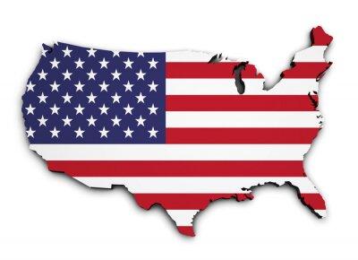 Sticker USA-Flaggen-Karte 3D-Form