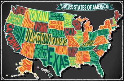 Sticker USA Karte Weinlese Tafel 2D