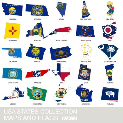 Sticker USA state collection, maps and flags