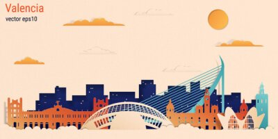 Valencia city colorful paper cut style, vector stock illustration. Cityscape with all famous buildings. Skyline Valencia city composition for design.