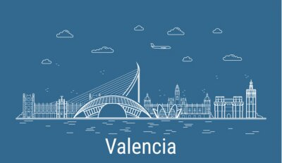 Valencia city, Line Art Vector illustration with all famous buildings. Linear Banner with Showplace. Composition of Modern cityscape. Valencia buildings set.