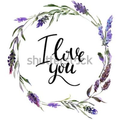 Sticker Valentine Blumenkranz. Aquarellblumenillustration mit Aufschrift ich liebe dich