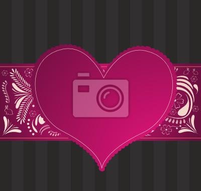 valentine Muster mit lila Herzen und Blumen-Ornament