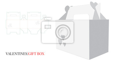 Valentine's Gift Box with Handle, Valentine's Heart Box. Vector with die cut / laser cut layers. White, blank, clear, isolated Gift Box mock upon white background. 3D presentation. Packaging Design