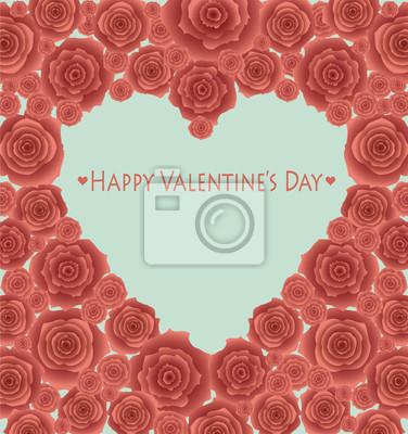 Valentinstag-Grußkarte auf roten Rosen.