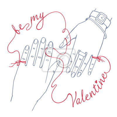 """Valentinstag Grußkarte. Einfache Umrisszeichnung von zwei Händen, männlich und weiblich, verbunden durch die rote Schnur des Schicksals. Isoliert auf weißem Hintergrund mit Worten """"Be my Valentine"""""""