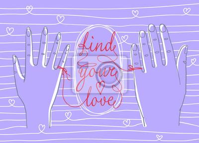 """Valentinstag Grußkarte. Einfache Umrisszeichnung von zwei Händen, männlich und weiblich, verbunden durch die rote Schnur des Schicksals mit Worten """"Find your love"""""""