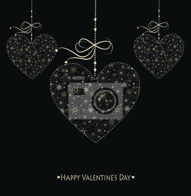 Valentinstag-Karte mit goldenen Herzen.
