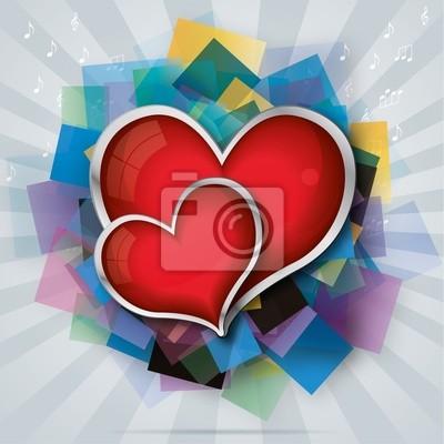 Valentinstag-Karte mit zwei roten Glasherzen