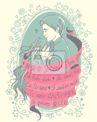 """Valentinstag Vintage Style Grußkarte. Junges Paar verdreht durch rosa Band mit Worten """"Ich liebe dich"""" in vielen verschiedenen Sprachen - Chinesisch, Japanisch, Russisch, Englisch, Französisch, Italie"""