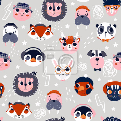 Various cute animal faces. Colored vector seamless pattern