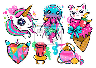 Various kawaii elements. Hand drawn colored vector set. Every object is isolated